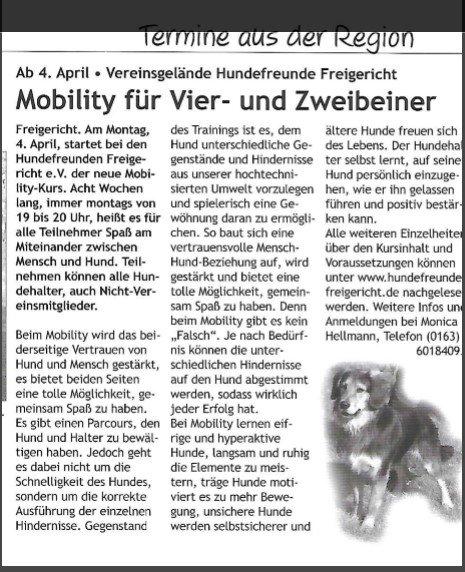 Mobility Kurs ab April 2016 Veröffentlichung Stadtjournal