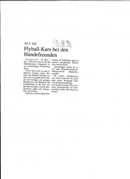 Flyball Kurs 13.06.2012